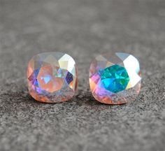 Aurora Borealis Pastel Northern Lights Swarovski Crystal Earrings Light Swarovski Pastel Rainbow Super Sparklers Studs Mashugana