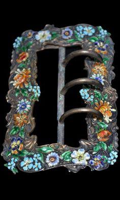 Galt & Bro antique floral enamel sterling silver sash belt buckle....Gorgeous!  Is this handmade?