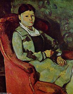 """""""マダムセザンヌ1の肖像"""", オイル バイ Paul Cezanne (1839-1906, France)"""