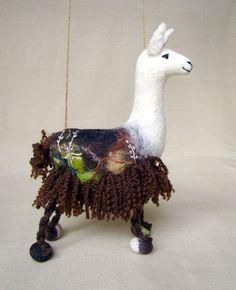 Felt Marionette Llama, Handmade Stuffed Toy