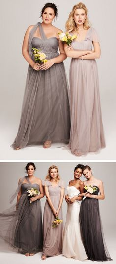 Shades of grey -- Convertible bridesmaid dresses that can be worn up to 15 ways! Bridesmaid Flowers, Wedding Bridesmaid Dresses, Wedding Attire, Wedding Gowns, Wedding Day Inspiration, Wedding Ideas, Wedding Colors, Bouquet, Bridesmaids And Groomsmen