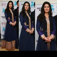 Katrina Kaif and Diya Mirza sport similar Blue Manish Malhotra Anarkali Dress While Dia Mirza walked in a navy blue floor-length Chinese-collared Anarkali for Manish Malhotra's BMW fashion show, a simlar Blue Anarkali was spotted on Katrina Kaif on the. Anarkali Lehenga, Bollywood Lehenga, Bollywood Fashion, Bollywood Style, Pakistani Dresses, Indian Dresses, Indian Outfits, Indian Clothes, Desi Clothes