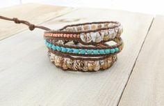shell, copper, bone, turquoise, leather boho wrap bracelet