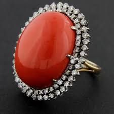 Image result for red coral diamond ring auction