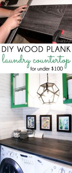 Create a DIY wood plank laundry room countertop for a fraction of the price of laminate countertop! We used vinyl flooring to achieve the countertop look we wanted for under $100!