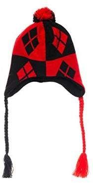 2743c958557 bioWorld DC Comics Batman Harley Quinn Black   Red Logo Knit Laplander  Beanie