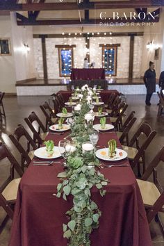 Yes greenery, no to burgundy table cloth