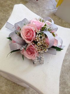 Rhinestone bracelet with silver ribbons and pink spray roses Prom Corsage And Boutonniere, Bridesmaid Corsage, Corsage Wedding, White Corsage, Flower Corsage, Prom Flowers, Bridal Flowers, Chalkboard Wedding, Floral Wedding