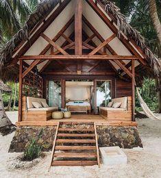 70 Fantastic Small Log Cabin Homes Design Ideas - Beach House - Small Log Cabin, Tiny House Cabin, Log Cabin Homes, Log Cabins, Tiny Beach House, Eco Cabin, Small Cabins, Bamboo House Design, Hut House
