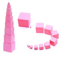 (27.36$)  Watch here  - Montessori Pink Tower Family Set Max Size 7cm Building Blocks Wooden Toys Educational 0.7-7cm Cube Blocks Gift