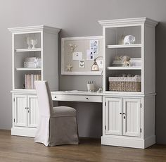 RH Baby & Child's Harper Study Wall:A timeless combination of open and concealed storage keeps books, toys and treasures neatly and handsomely organized. Desk Wall Unit, Bookcase Shelves, Web Design, Design Logo, Home Office Space, Home Office Decor, Office Interior Design, Office Interiors, Desk Layout