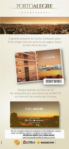 Petryck Goes - consultora imobiliária exclusiva da construtora Cyrela Goldsztein: Confira no Jornal Zero Hora de hoje !