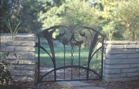 Gate Wrought Iron Garden Gates, Public Art, Outdoor Furniture, Outdoor Decor, Garden Bridge, Home And Garden, Outdoor Structures, Sculpture, Landscape