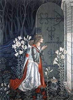 The Achievement of the Grail, detail of  No.6 of the Holy Grail tapestries woven by Morris & Co. 1891-94