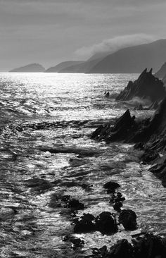 Dingle, Co. Emerald Isle, Black And White Photography, Waves, Ocean, Sky, World, Vacations, Nature, Pictures