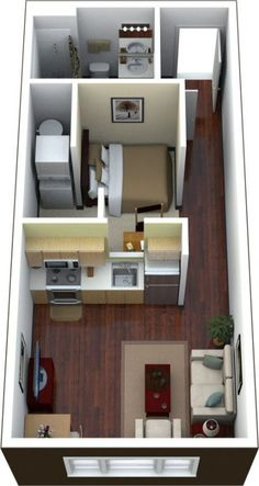 Apartment Living Room Layout Floor Plans Tiny House 31 Ideas The price reach of the Apartment was am 3d House Plans, Small House Plans, Studio Apartment Layout, Apartment Design, Studio Layout, Apartment Living, Apartment Ideas, Small Apartment Layout, Studio Apartment Floor Plans