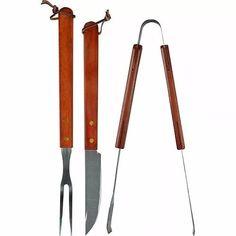 kit de churasco inox c/cabo de madeira 3 peças profissional