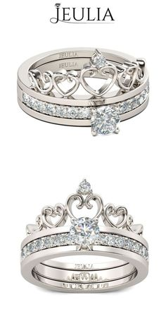 Start your happily ever after on a sweet note with this forever brilliant moissanite engagement ring set from Camellia Jewelry. Scrupulously handmade in fine detail, it is a unique moissanite wedding ring set that will show her how much you care without b Jewelry Rings, Jewelry Accessories, Fine Jewelry, Pandora Jewelry, Men's Jewellery, Designer Jewellery, Diamond Jewellery, Jewellery Designs, Silver Jewelry