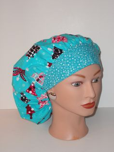 c2fae7f840d4b The Perfect Sized Bouffant Scrub Hat... Turquois Christmas Trees w Dotted  Band...Surgical Hat OR Scrub Hat · GorrosSombreros De MatorralÁrboles ...