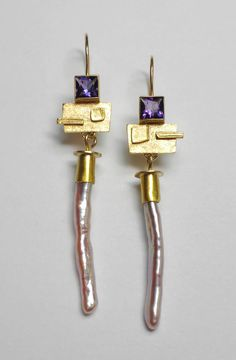 Isabelle Posillico pearl and amethyst earrings at R C Wahl Jewelers