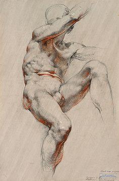 Russian Academy nude male figure anatomy drawing.