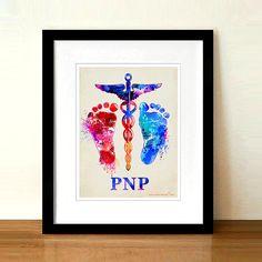 Watercolor Pediatric Nurse Practitioner Caduceus baby feet