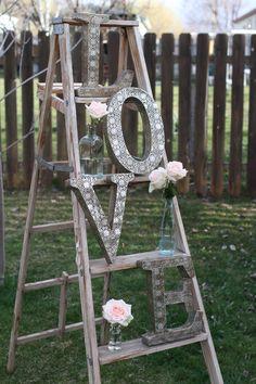 Vintage LOVE letters - Vintage Wedding Decor - Vintage Ladder
