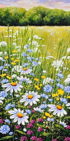 New Landscape Watercolor Paintings Flowers Ideas Watercolor Landscape, Watercolor Flowers, Landscape Paintings, Watercolor Paintings, Daisy Painting, Spring Painting, Beautiful Landscapes, Painting Inspiration, Flower Art