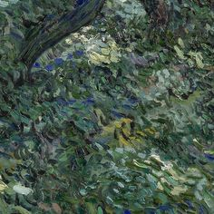 Slide and zoom into this painting to discover Vincent's loose brushstrokes up-close. . Undergrowth, Vincent van Gogh (1889) #vangogh #art #forest #vincentvangogh #vangoghmuseum #museum #painting