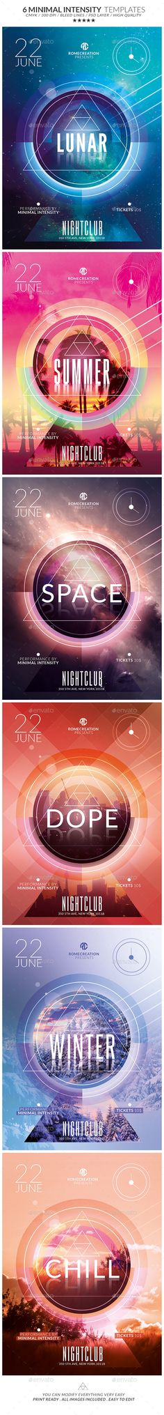 x6 Minimal Intensity / Flyer Psd Templates Pack / Print Ready !!! - Available on…