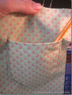 Sewing Techniques Couture tutorial how to sew a pocket onto whatever project your working on Diy Sewing Projects, Sewing Hacks, Sewing Tutorials, Sewing Crafts, Sewing Patterns, Sewing Tips, Sewing Ideas, Techniques Couture, Sewing Techniques