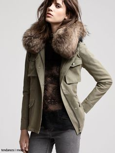 Everyone has an old fur or old faux fur laying around. Dress up your army jacket for colder weather