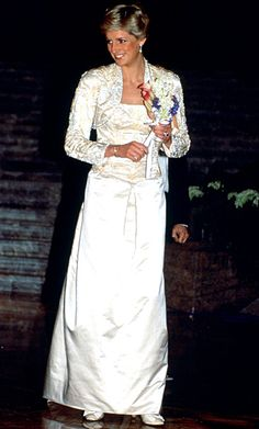 "1985    Designer Victor Edelstein has said that the dresses he made for the princess were a collaboration: ""You each make suggestions and ask, 'What do you think?'"" In the case of this white gown and bolero, the partnership paid off. Years after she wore it to a New York event, she chose a photo of herself in the ensemble for the cover of her Christie's auction catalog."