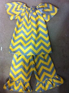 2 pcYellow and Grey Chevron outfit with Ruffle by DebbieSewBusy, $38.00