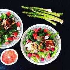 Asparagus & salmon salad
