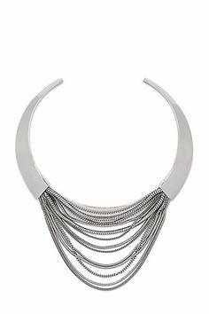 Silver Multi Chain Sculptural Collar Necklace in in Silver