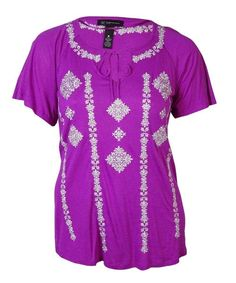 Embroidered Blouse INC Womens Plus Split Neck Shirt Top Pink 2X MAGENTA $79 NWT #INC #Blouse #Casual