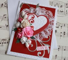 Gorgeous Valentines Day Card Blank Paper Roses by oldladybern