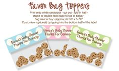 Printable baby shower favor bag toppers! Fill baggies with cookies, candy or bath beads and attach these polka dot labels to the top! Can customize with your own wording. #babyshower