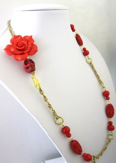 Sugar Skull Day Of The Dead Necklace Red by sweetie2sweetie, $29.99