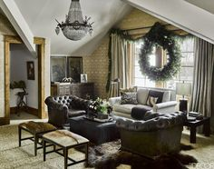 Willy Nelson guest suite at a luxurious ski house in Montana designed by Ken Fulk