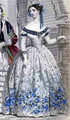 January, 1854 (Godey's Lady's Book). Dress for receiving New Year's calls. A white grounded silk, the skirt elegantly woven with a pattern of full-blown roses and foliage in blue. Plain white body and sleeves, finished with broad bands of blue embossed velvet. Pearl ornaments. The Hair slightly puffed, and dressed with lappets of blue and gold ribbon, intermingled with golden leaves