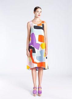 Nima dress (DOGMA-Off white, lemon, tomato) |Clothing, Women, Dresses & skirts | Marimekko