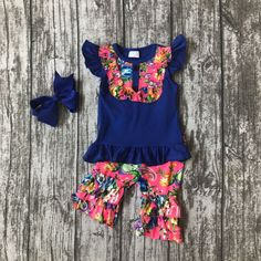 Special offer  baby girls Summer spring clothing girls royal blue outfits children summer outfits floral with ruffle shorts clothing with bows just only $13.09 with free shipping worldwide  #girlsclothing Plese click on picture to see our special price for you