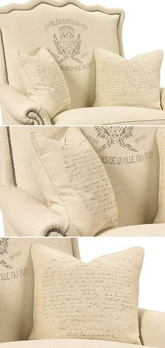 """INSPIRATION :: Transfer a print on the back of an upholstered chair. What I really love is the """"handwriting"""" print pillows. 
