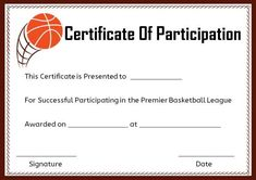 Free basketball certificate of participation basketball basketball certificate of participation template certificatebasketball templatenetball yadclub Gallery