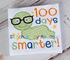 100 Days Worm Applique - 4 Sizes! | What's New | Machine Embroidery Designs | SWAKembroidery.com Stitch Away Applique
