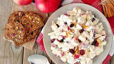 Jablkový šalát s kuracím mäskom | Recepty.sk Diabetic Recipes, Healthy Recipes, Healthy Food, Food Hub, Apple Salad, Plain Yogurt, Serving Size, How To Cook Chicken, Pasta Salad