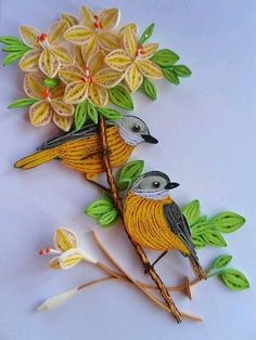 Quilling: Birds of Paper, Two Birds on a Branch with Flowers Arte Quilling, Paper Quilling Flowers, Paper Quilling Patterns, Quilled Paper Art, Quilling Paper Craft, Quilling Ideas, Quilling Letters, Quilling Tutorial, Origami