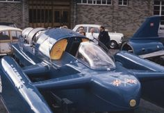 """BLUEBIRD K7"" is a Turbo Jet Engine Hydroplane with which Britain's Donald Campbell Set 7 World Water Speed Records - Taking it from the Existing Mark of 178 mph to 276.33 mph - Donald Campbell was Killed, with a Much Modified K7, on 4 January 1967, Whilst Making a Bid for his 8th World Water Speed Record on ""Coniston Water"" Lake in Cumbria, UK. His Aim was to Raise the Record to Over (300 mph) (1)"